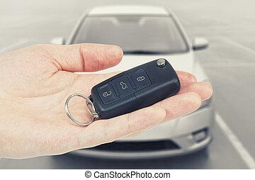 chiavi, automobile, piegato, palma, fondo, uomo