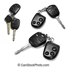 chiavi, automobile, remotes, sfondo bianco