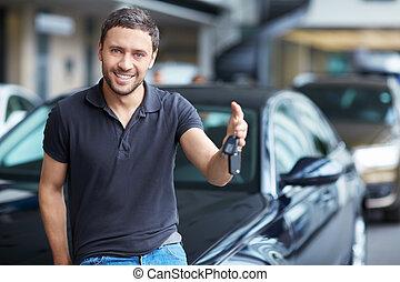 chiavi, automobile, uomo