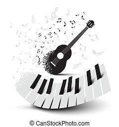 chiavi, chitarra, note, pianoforte