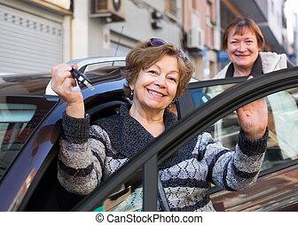 chiavi, donna, automobile