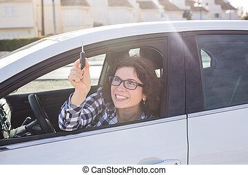 chiavi, donna macchina, attraente, affari