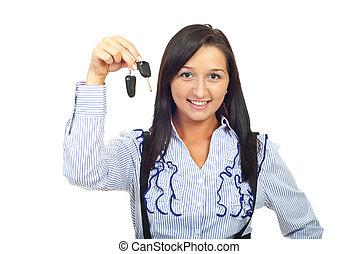 chiavi, donna macchina, giovane, presa a terra