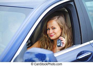 chiavi, donna macchina, presa a terra