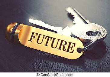 chiavi, dorato, concept., futuro, keyring.