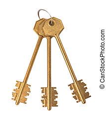 chiavi, dorato, sfondo bianco, mazzo