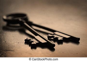 chiavi, legno, aprire, superficie