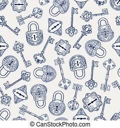 chiavi, modello, serrature, disegnato, mano