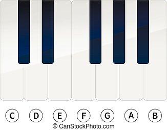 chiavi, note, bianco, musica, pianoforte
