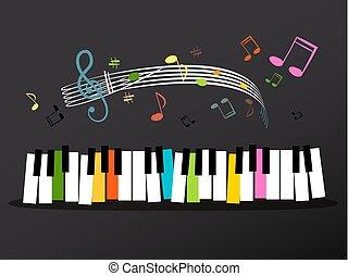 chiavi, note, musica, colorito, tastiera