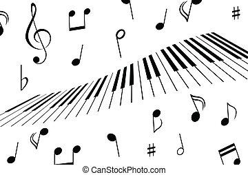 chiavi, note, musica, pianoforte