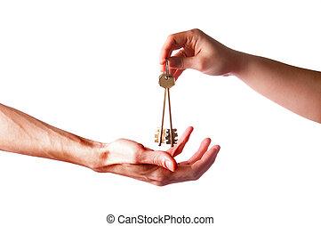 chiavi, ottone, mani