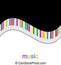 chiavi, pianoforte, colorito, fondo