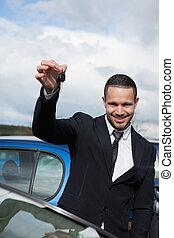 chiavi, presa a terra, automobile, uomo, felice