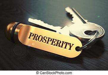 chiavi, prosperità, parola, label., dorato
