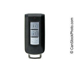 chiavi, remoto, automobile, fondo., immagine, isolato, bianco