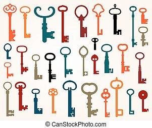 chiavi, set, vecchio