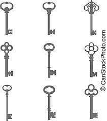 chiavi, silhouette, set, nove, vettore