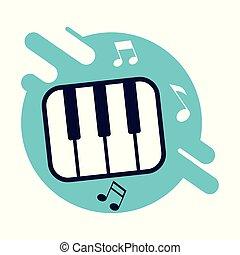 chiavi, strumentale, pianoforte, bandiera, musica