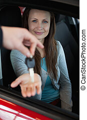 chiavi, suo, presa a terra, automobile, uomo affari, fingertips