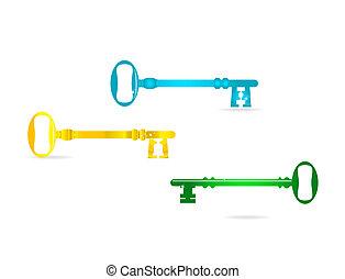 chiavi, vetro, astratto, set, colorato