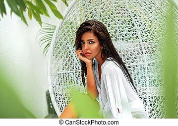 chic, moda, decorations., foto, lusso, bello, vacation., stagno, villa., ragazza, altalena