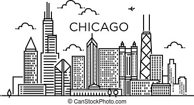 chicago, bandiera, city., art., linea, lineare