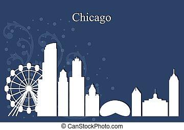 chicago, sfondo blu, orizzonte, città, silhouette