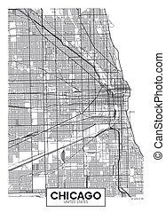 chicago, vettore, mappa urbana, manifesto