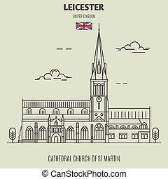 chiesa, cattedrale, uk., leicester, punto di riferimento, martin, icona, st