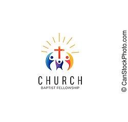 chiesa, famiglia, casato, ispirazione, logotipo, vettore, comunità, disegno, bianco, icona, colorito, fondo