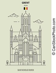 chiesa, gand, punto di riferimento, belgium., nicholas, santo, icona