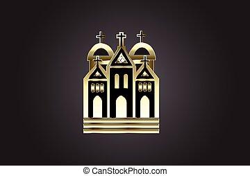 chiesa, logotipo, icona, dorato