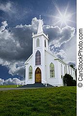 chiesa, nubi, &