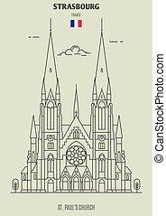 chiesa, paul, icona, strasburgo, punto di riferimento, france., st.