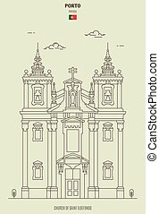 chiesa, punto di riferimento, ildefonso, porto, portugal., santo, icona