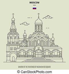 chiesa, russia., punto di riferimento, theotokos, kazan, icona, rosso, mosca, quadrato