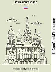 chiesa, sangue, punto di riferimento, salvatore, russia., santo, icona, petersburg