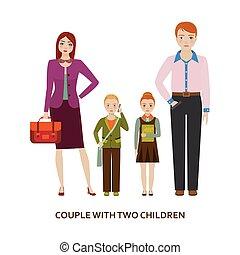 children., coppia, due, illustrazione, cartone animato