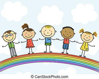 children., illustration., vettore