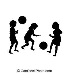 childres, silhouette, partita di calcio, vettore