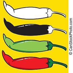 chilli, illustrazione, vettore, verde, peppers., rosso