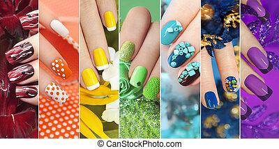 chiodo, arcobaleno, collezione, colorito, designs.