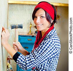 chiodo, donna, martello, moda, bricolage