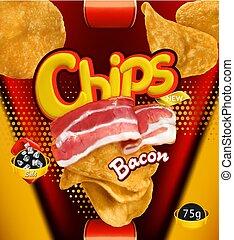 chips., patata, pancetta affumicata, imballaggio, vettore, disegno, sagoma, flavor., 3d