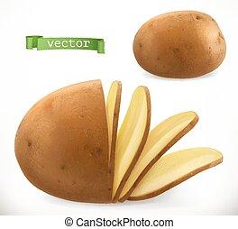 chips., patata, realistico, vettore, icona, 3d