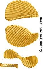 chips., set, patata, realistico, vettore, 3d, icona
