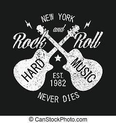 chitarra, abbigliamento, york, nuovo, stampa, rock-n-roll