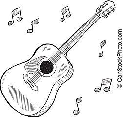 chitarra acustica, schizzo