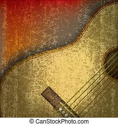 chitarra, acustico, astratto, musica, fondo